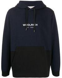 Woolrich Two-tone Logo Hoodie - Blue