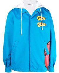 Gcds Flower Print Hooded Jacket - Blue