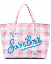 Mc2 Saint Barth Borsa tote a quadri - Rosa