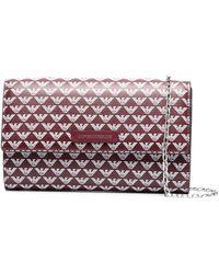 Emporio Armani Logo Print Continental Chain Wallet - Red