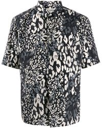 Saint Laurent Tricolour Leopard Print Short Sleeve Shirt - Black