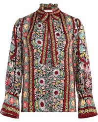 Alice + Olivia Reilly Flower Pot-print Blouse - Red