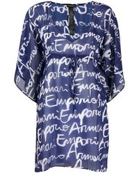 Emporio Armani Printed Beach Dress - Blue