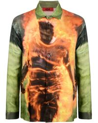 424 Tie-dye Button Down Shirt - Orange
