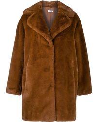 P.A.R.O.S.H. Oversized Faux-fur Coat - Brown