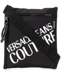 Versace Jeans Logo Printed Messenger Bag - Black