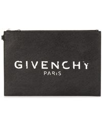Givenchy Logo Zip Cluch - Black