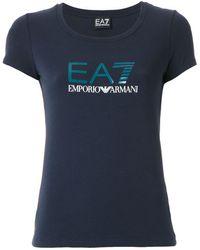 EA7 Logo Print T-shirt - Blue