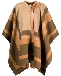 Chloé Striped Cape Coat - Multicolor