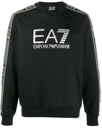 EA7 Logo Print Sweater - Black