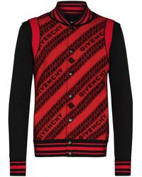 Givenchy Chain Logo Button-up Bomber Jacket - Red