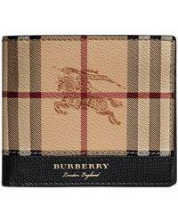 Burberry - Haymarket Check And Leather International Bifold Wallet - Lyst