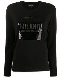 Emporio Armani Sequinned Logo Top - Black