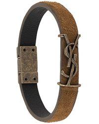 Saint Laurent Ysl-plaque Leather And Antiqued-metal Bracelet - Multicolour