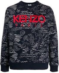 KENZO Logo Print Sweatshirt - Blue