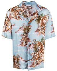 ih nom uh nit Tiger Print Short-sleeve Shirt - Blue