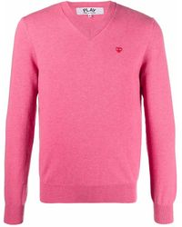 COMME DES GARÇONS PLAY Logo-patch Wool Jumper - Pink