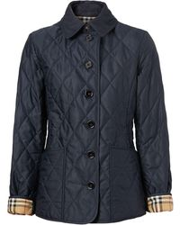 Burberry Diamond-quilted Jacket - Blue