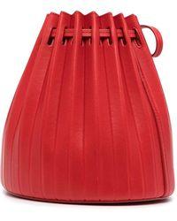 Mansur Gavriel Mini Pleated Bucket Bag - Red
