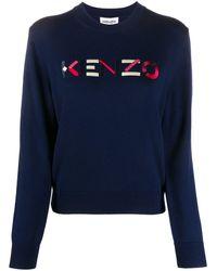 KENZO Embroidered Logo Crew Neck Sweater - Blue
