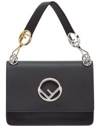 Fendi Kan I Large Leather Shoulder Bag - Black