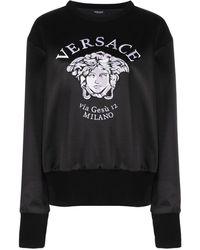 Versace Embroidered Medusa Logo Sweatshirt - Black