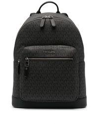 Michael Kors Hudson Monogram Leather Backpack - Black