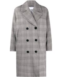 Ganni Oversized Check Print Coat - Gray