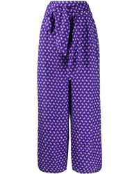 KENZO Abstract Print Palazzo Trousers - Purple