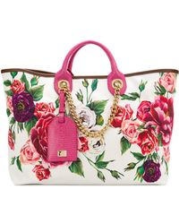 Dolce & Gabbana - Printed Canvas Shopping Bag - Lyst