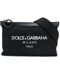 Dolce & Gabbana Embossed Belt Bag With Logo - Black