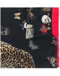 Alexander McQueen Leopard Skull Printed Scarf - Red