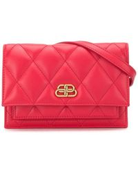 Balenciaga Leather Sharp Belt Bag With Logo - Red