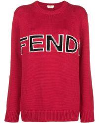 Fendi - Wool Jumper With Logo - Lyst
