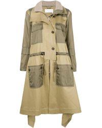 Chloé Zip-front Mid-calf Parka Coat W/ Nylon Patch Pockets - Natural