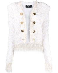 Balmain Collarless Fringed Tweed Jacket - White