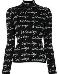 Balenciaga Turtleneck Jumper - Black