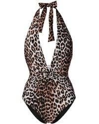Ganni Leopard Print Deep V-neck Swimsuit - Black