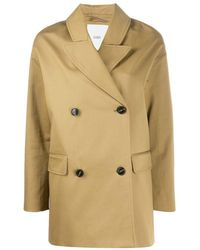 Closed Oversized Double Breasted Coat - Brown