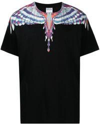Marcelo Burlon Birds Wings Print Cotton T-shirt - Black