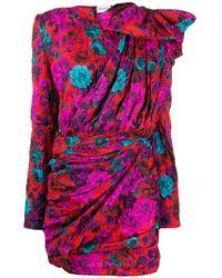 Magda Butrym Crinkled Floral-print Jacquard Asymmetric Mini Dress Size - Red