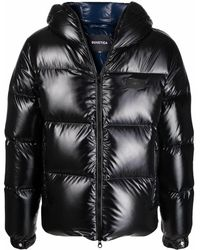 Duvetica Logo-patch Feather-down Puffer Jacket - Black