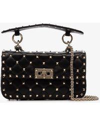 Valentino Garavani Rockstud Spike Small Leather Shoulder Bag - Black
