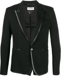 Saint Laurent Contrast Trim Blazer - Black