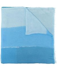 Faliero Sarti Gradient-effect Frayed-edge Scarf - Blue