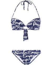 Emporio Armani Hand Written Logo-print Padded Bikini - Blue