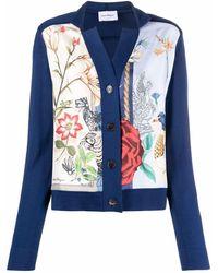 Ferragamo Floral Print-silk Fine-knit Cardigan - Blue