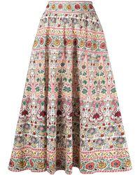 Alice + Olivia High-rise Floral-print A-line Midi Skirt - Multicolour