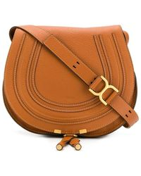 Chloé Marcie Small Leather Shoulder Bag - Brown