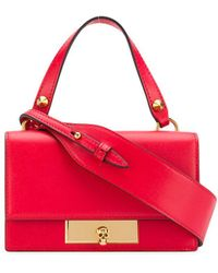 Alexander McQueen Skull Lock Small Leather Bag - Red